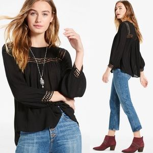 Lucky Brand Geo Lace Insert Swing Top | NWT